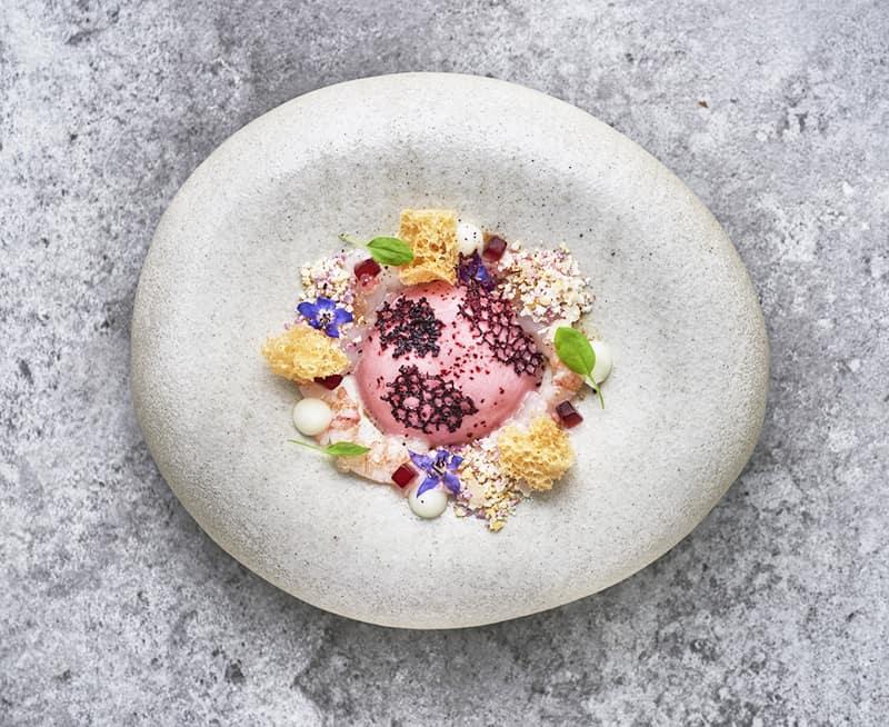 Marinated Scottish langoustine, hibiscus, cauliflower, citrus at The Square, Mayfair, London