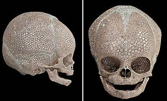 Blinged baby skull by Damien Hirst