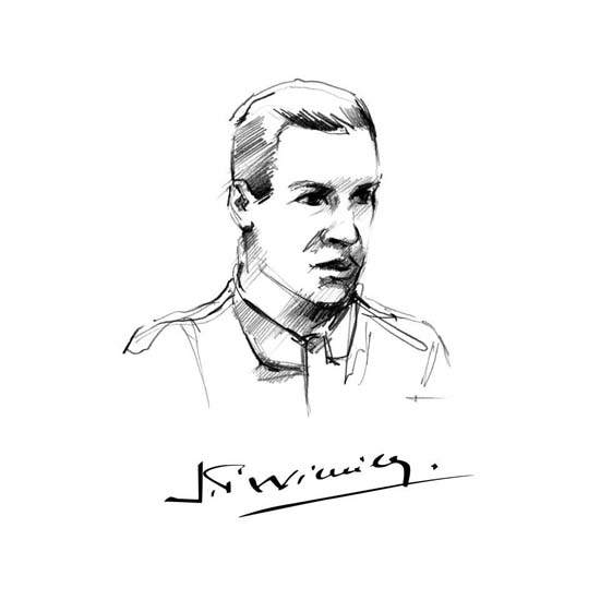 Jean-Pierre Wimille, as sketched by a Bugatti designer