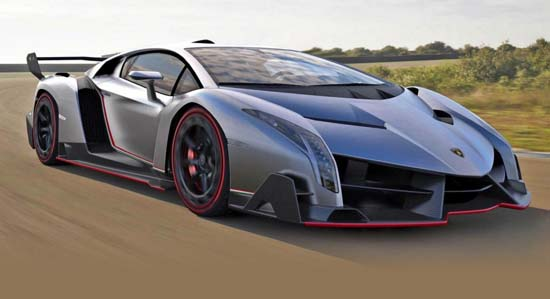 Lamborghini Veneno is based on the Aventador LP700-4 and will have 740 horsepower from a 6.5-liter V12, and top speed of 220 miles per hour.