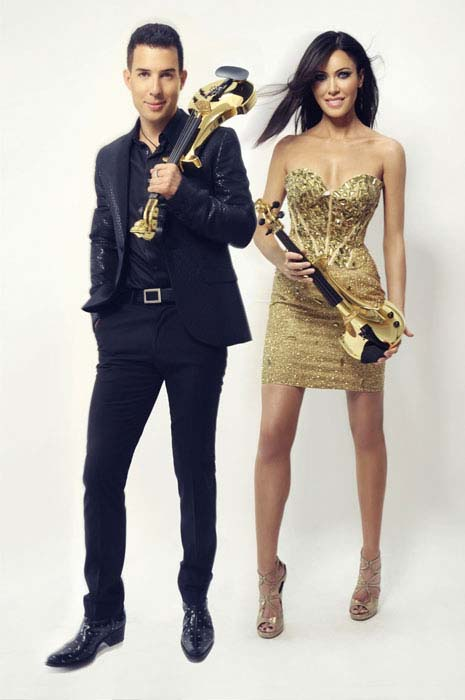 linzi-stoppard-ben-lee-gold-plated-electric-violinists