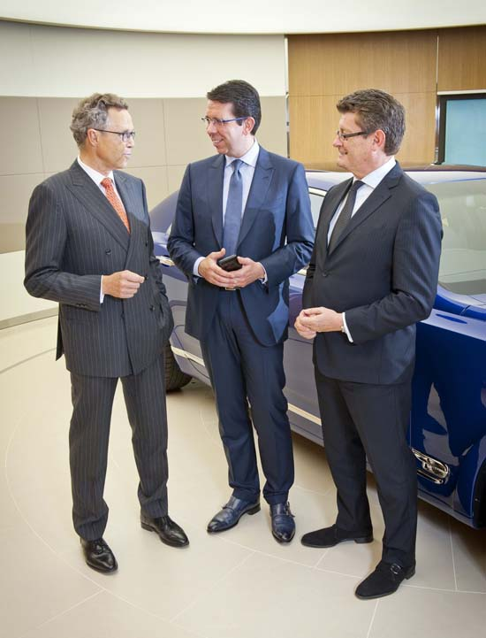 Wolfgang Dürheimer (left) with Massimiliano Pogliani (centre) and Kevin Rose at Bentley Motors