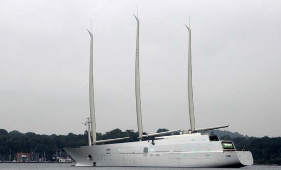 Sailing Yacht A, during a test voyage in Kiel, Germany (Photo by Ship-dreams.de)