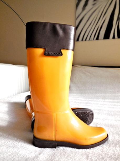 Celine Yellow Rubber Rain Boots