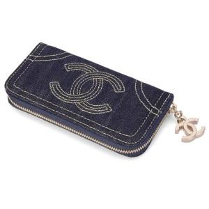 Chanel Blue Denim Zip Around Wallet