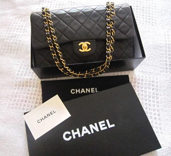 Chanel Lambskin Double Flap 2.55 Medium Black Purse
