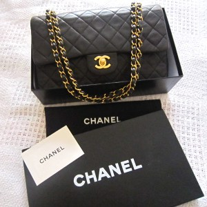Chanel Lambskin Double Flap 2.55 Medium Black Purse