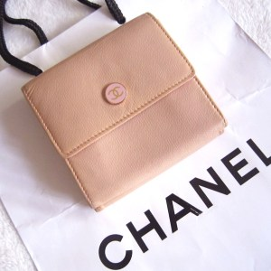 Chanel Pink Leather Gold Medallion French Bi-Fold Wallet