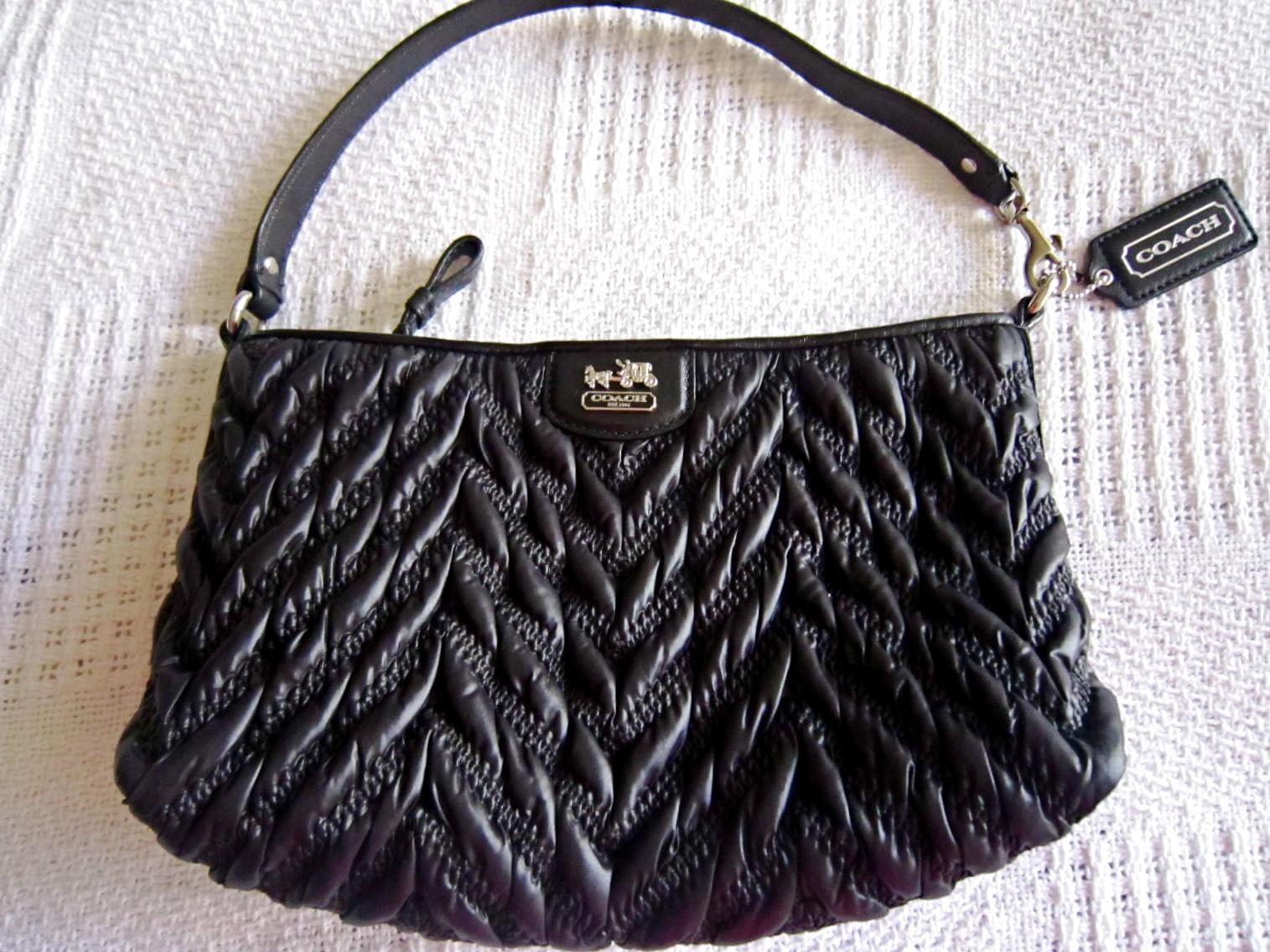 ed8aba06 Coach Black Madison Gathered Handbag - Luxurylana Boutique