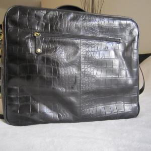 Danier Black Croc Leather Briefcase