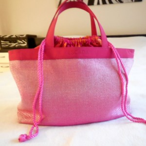 Escada Tropical Punch Woven Beach Tote