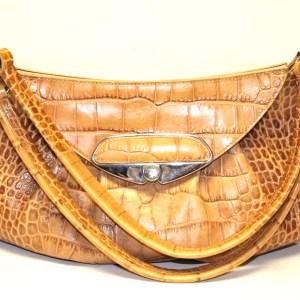 Furla Yellow Croc Embossed Leather Hobo Bag