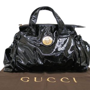 Gucci Black Patent Crystal Hysteria Medium Handbag