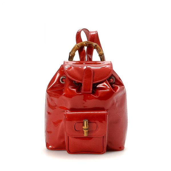 Gucci Red Bamboo Backpack