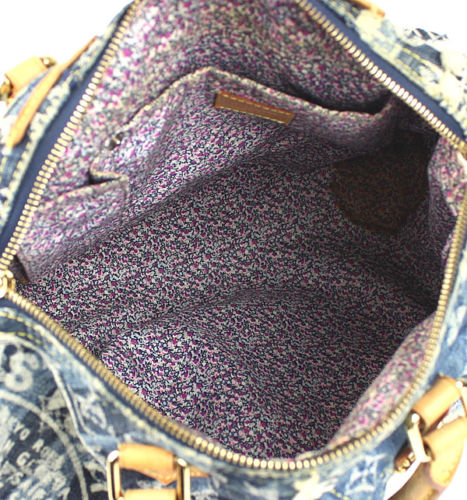 2df383e9542a Louis Vuitton Blue Denim Patchwork Speedy 30 Handbag - Luxurylana ...