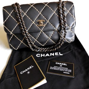 "Chanel Black Calfskin ""Surpique"" Wild Stitch Flap 2.55 Handbag"