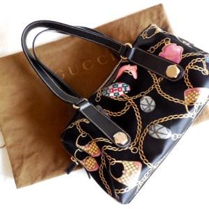 Gucci Black Multicolor Charm Shoulder Bag