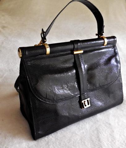Vintage Black Snakeskin Leather Satchel Bag-1