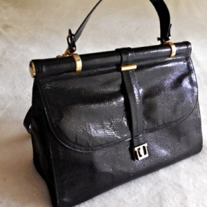 Vintage Black Snakeskin Leather Satchel Bag-1