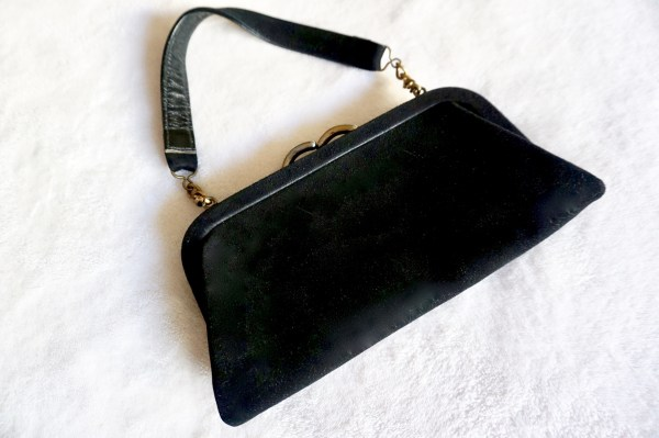Vintage Black Suede Kiss-Lock Clutch-1