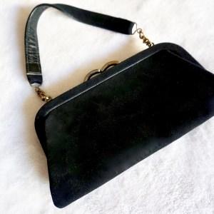 Vintage Black Suede Kiss-Lock Clutch