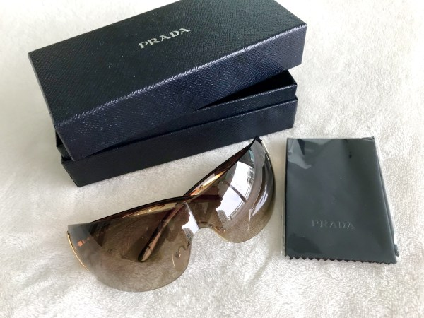Prada 54G Brown Gold Sunglasses