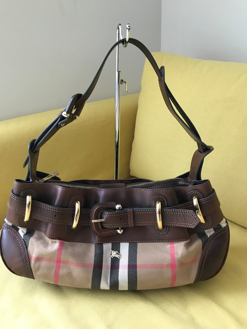 7bcd25fe1b Burberry Check Canvas & Brown Leather Hobo Bag - Luxurylana ...