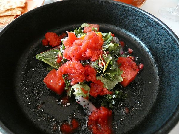 Watermelon and pomegranate salad at Grand Velas near Puerto Vallarta