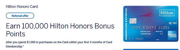 Hilton Honors credit card sign-up bonus