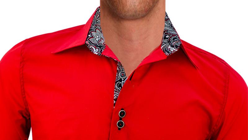 Mens Dress Shirt Black Contrast Red