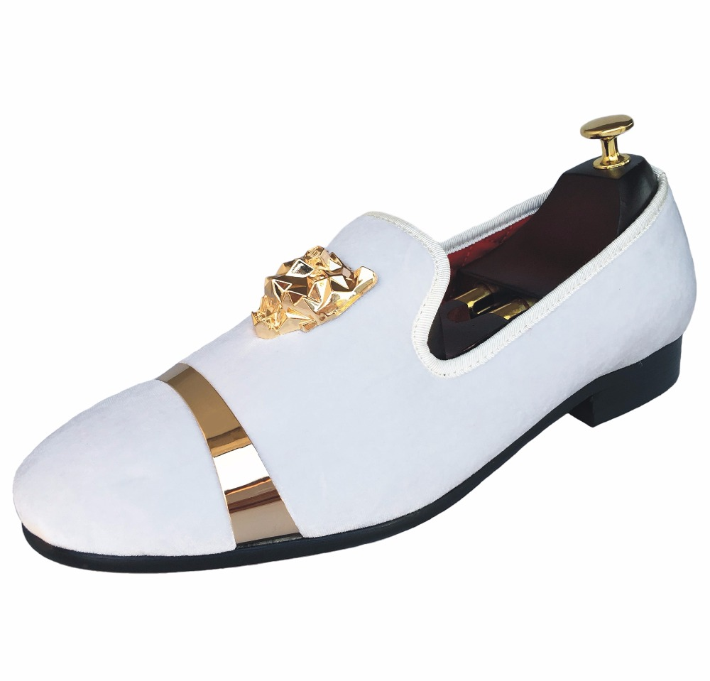 dac8c3e0d659 New Handmade Men Velvet Loafers Shoes White Slippers with Gold Buckle and Red  Bottom