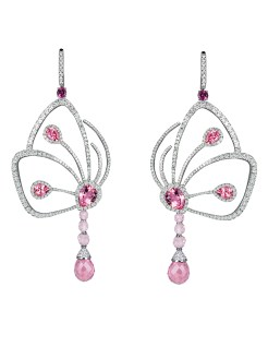 EARRINGS 27.45cts Pink Tourmaline (16 Stones) & 6.07cts White Diamonds (452 Stones). 24.8 Grams 18k White gold