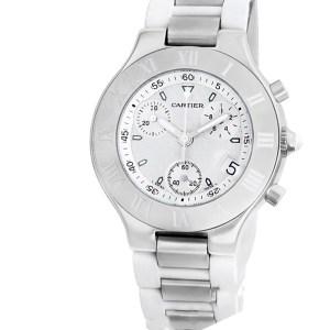 Cartier Chronoscaph 21 W10184U2 Stainless Steel White dial 36mm Quartz watch