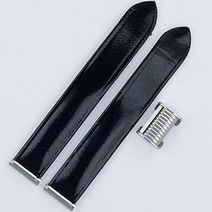 "Boucheron Solis black lackered strap 15mm by lug end 3.5"" length"