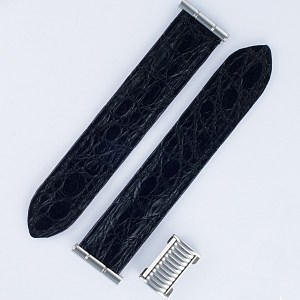 "Boucheron Solis black crocodile strap 20mm by lug end 3.75"" length"