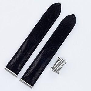 "Boucheron Solis matt black crocodile strap 19mm by lug end 4.25"" length"
