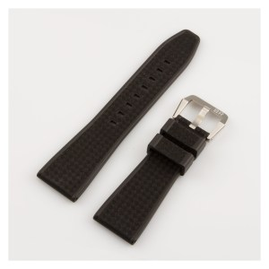 Bell & Ross black textured rubber band with stainless steel tang buckle (22 x 18 mm)