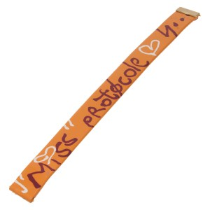 """Piaget """"Miss Protocole"""" bright orange leather strap with print (13mm x 13mm)"""