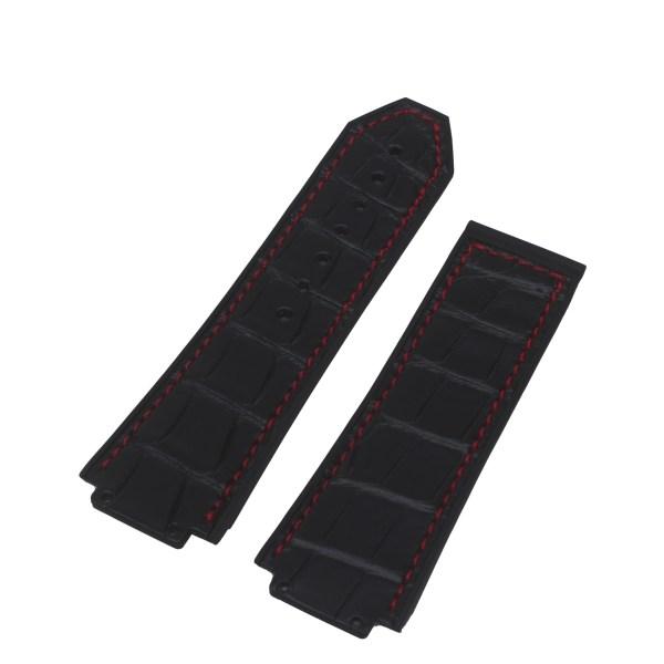 Hublot black alligator/rubber red stich strap (25mm x 22mm)