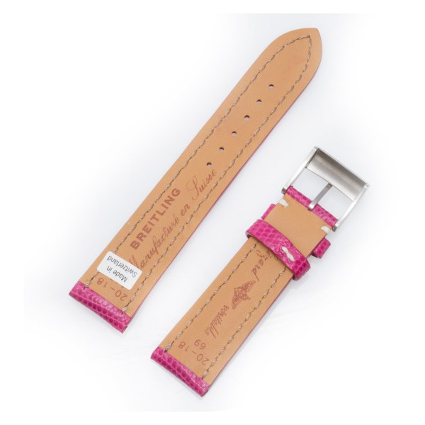 Breitling pink lizard strap with stainless steel tang buckle 20x18