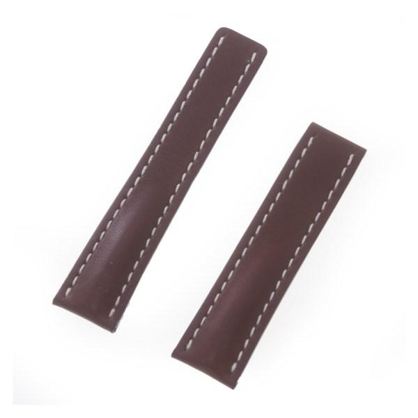 Breitling medium brown white stitching deployant strap (22mm x 20mm)