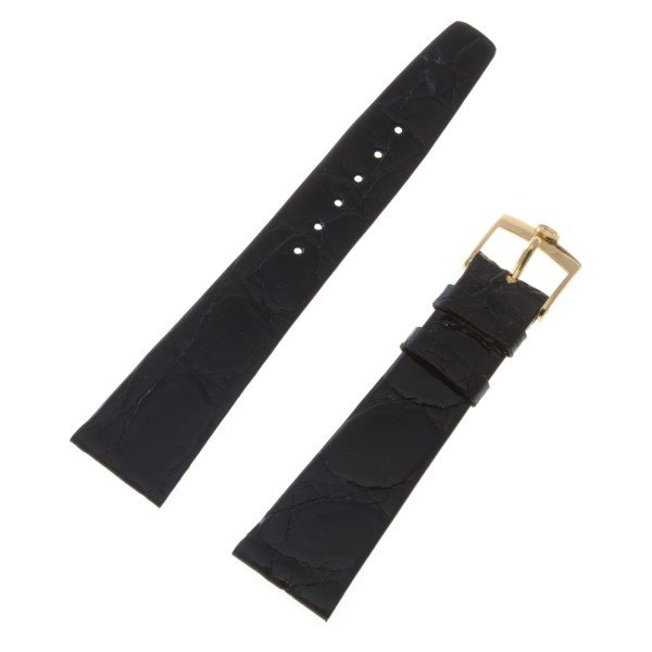Concord black crocodile strap with original gold filled tang buckle 21x16