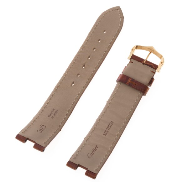 Cartier brown alligator strap with 18k gold tang buckle