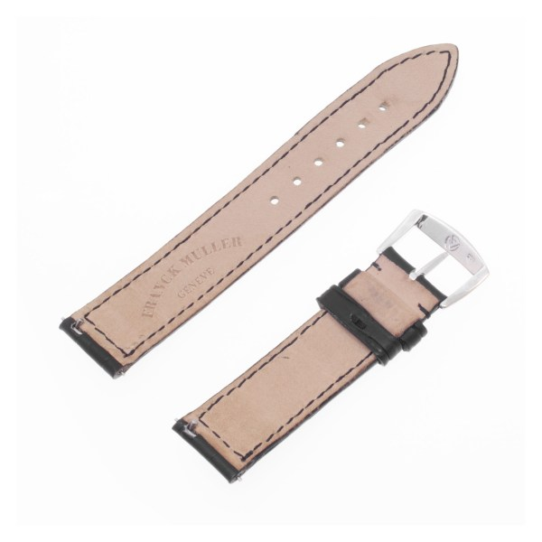 Frank Muller black alligator strap with original white gold tang buckle with diamond accent