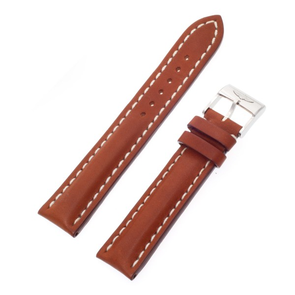 Breitling brown calfskin strap with white stitching and stainless steel tang buckle (20-18)
