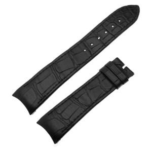 Bvlgari (Bulgari) black alligator strap with black stitching (21mm x 18mm)