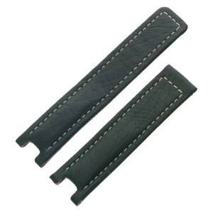TAG Heuer dark green leather strap with white stitching