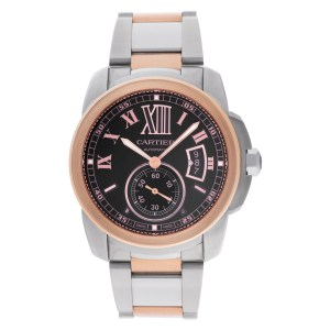 Cartier Calibre W7100050 18k rose gold & stainless steel 42mm auto watch
