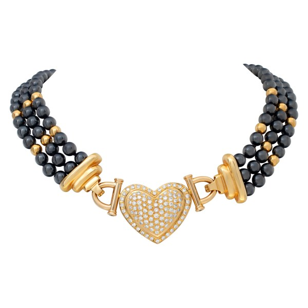 Hematite beads necklace with removable diamond heart center in 14k.