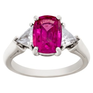 Pink sapphire platinum ring with diamond accents